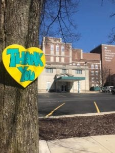 Thank You Heart sign outside Memorial Hospital, Sheboygan