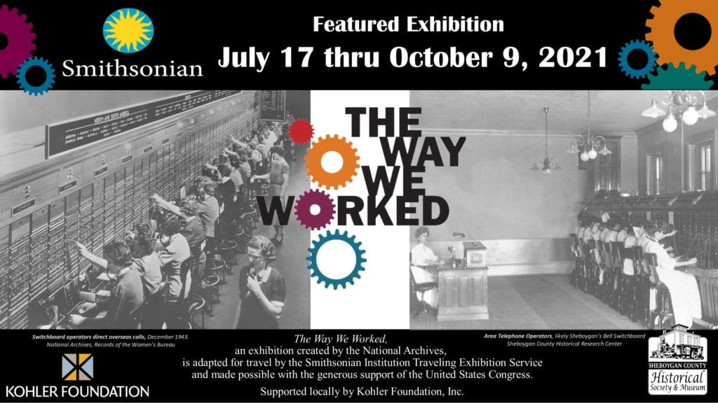 Two alternate photos of historic switchboards, with additional information on the exhibit dates and sponsors.